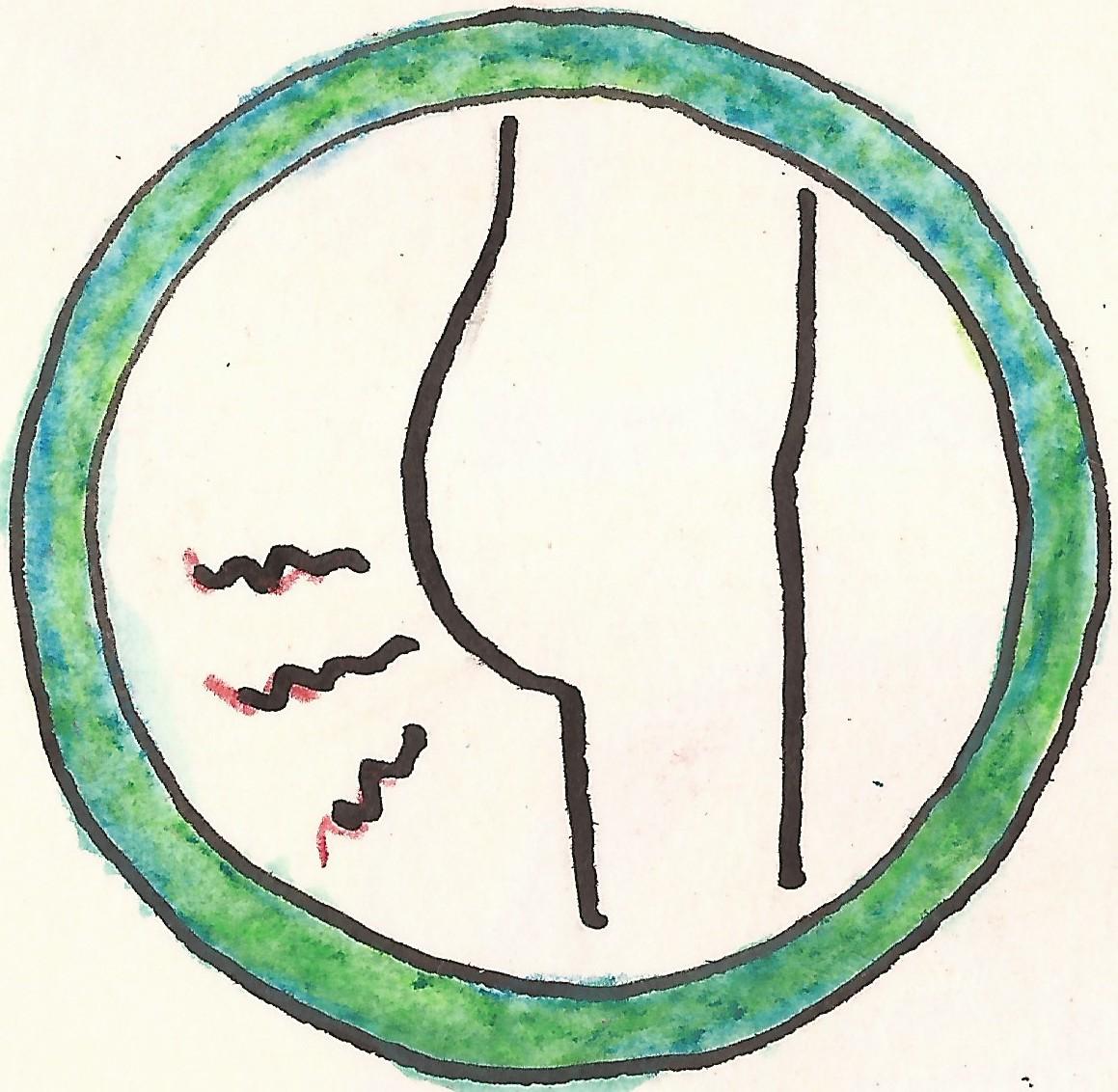piktogram bolesti kolem ritniho otvoru zelená