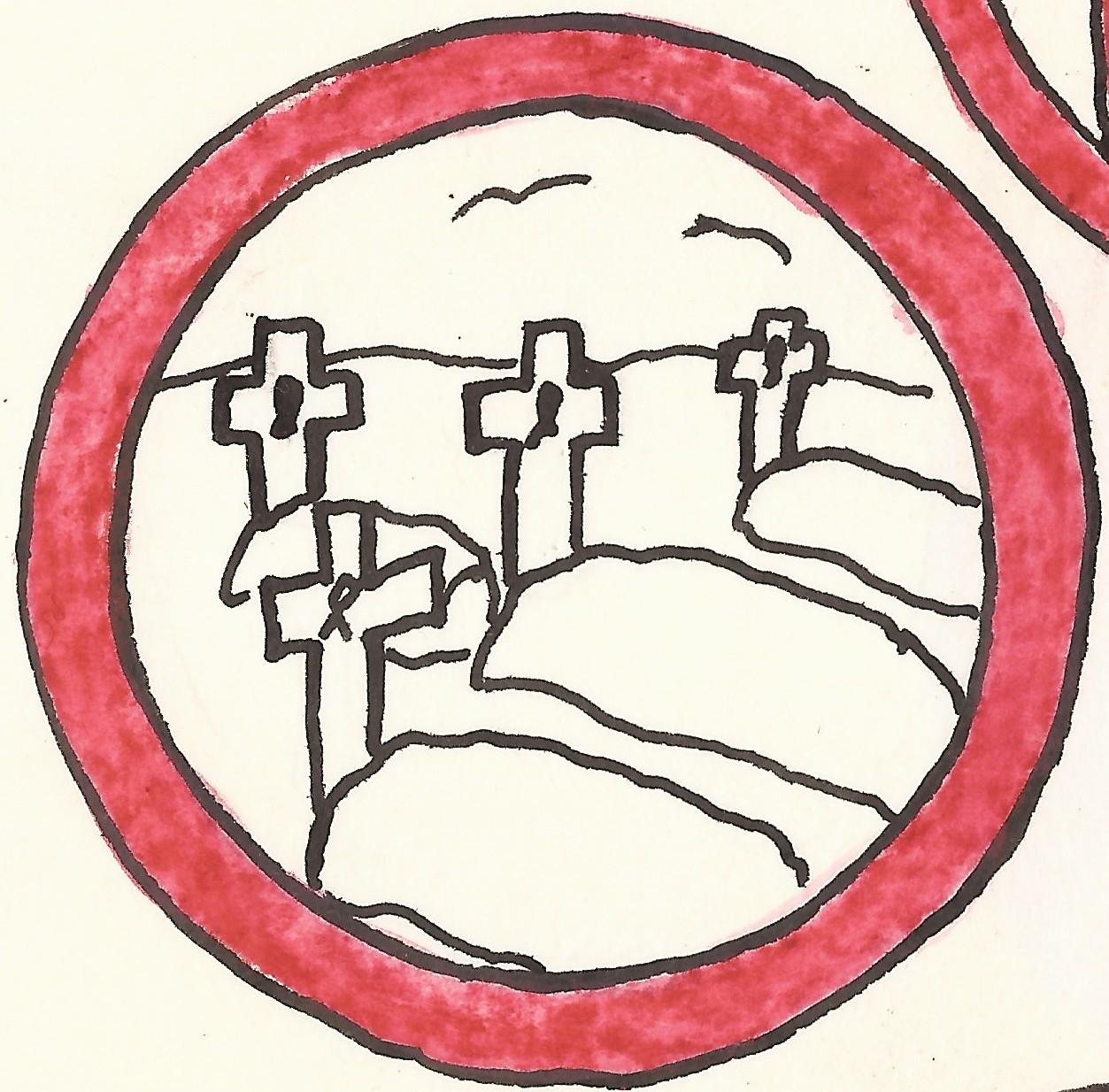 piktogram smrt červene